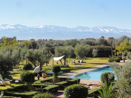Les Jardins de Zyriab Resort & Spa: Vue piscine et vallée de l'Ourika (mars)