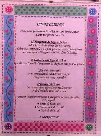 Hôtel Le Clos : Les règles de l'hotel