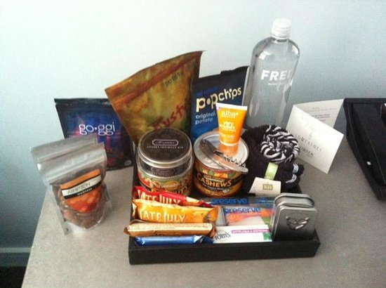 Kimpton Lorien Hotel & Spa: Some minibar offerings (sans the M&Ms we ate). Minifridge w/ drinks not pictured.