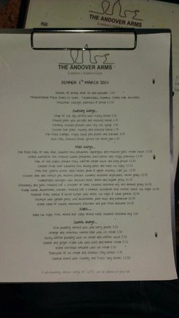 The Andover Arms: Menu on 1st March 2014