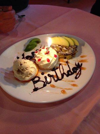 Restaurant Fritschi: My fiancé's birthday surprise! So sweet of them. :)