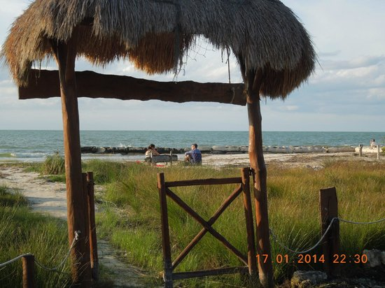 Beach Guesthouse Holbox Apartments & Suites: View of beach and sea through the garden gate