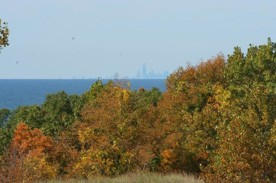 Indiana Dunes State Park: Fall view of Chicago