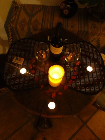 "Posada Yum Kin: Wine and candles with the requested ""special occasion package"""