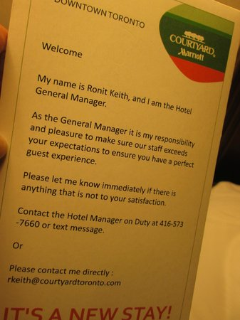 Courtyard by Marriott Toronto Downtown: General Manager Contact Info Card in Room Courtyard Marriot February 2014