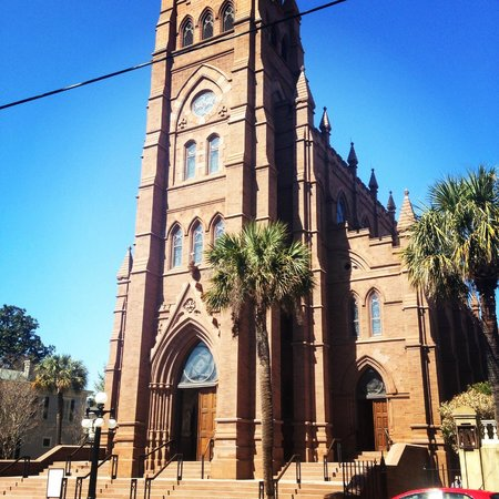 Cathedral of Saint John the Baptist: The front of the Cathedral of St. John the Baptist on a beautiful Charleston day