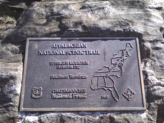 ‪‪Appalachian National Scenic Trail‬: Marker at start in Georgia‬