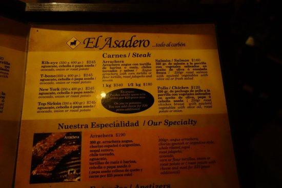 El Asadero: part of the menu