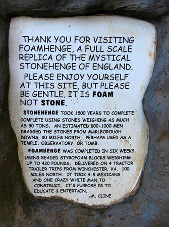 The sign outside Foamhenge