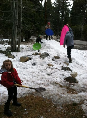Tahoma Meadows B&B Cottages : Playing in the Snow