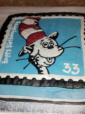 Superb Cat In The Hat Postage Stamp Cake Picture Of Rileys Bakery Personalised Birthday Cards Epsylily Jamesorg