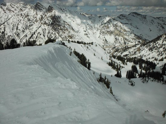 Snowbird Ski and Summer Resort: View down off of Cirque Traverse - scary for this snowboarder!