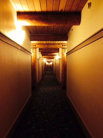Lied Lodge & Conference Center : The long hallway of natural timbers