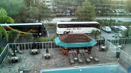 Comfort Inn Maingate: Two of the eight busses taking up guest parking.Cheerleaders.