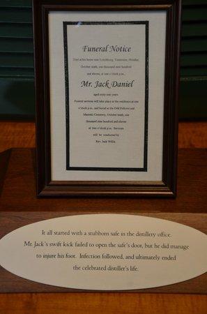 Jack Daniel's Distillery: Jack Daniel's death notice and story