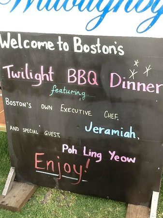 Boston Brewing Co. & Willoughby Park Winery: Welcome Blackboard
