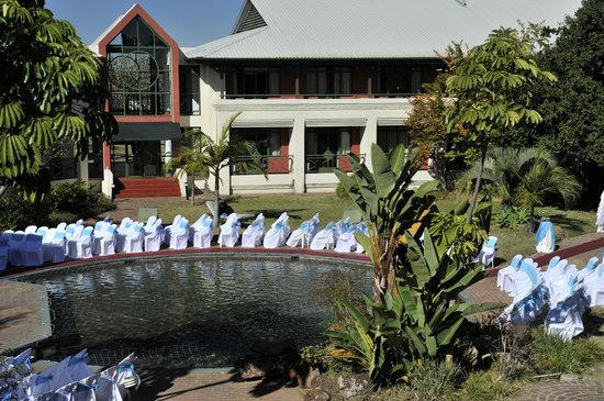 Cresta Lodge Harare: Garden wedding setup around pool