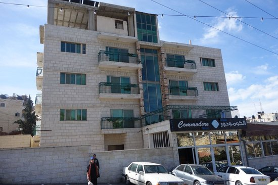 Commodore Hotel Jerusalem : Taken from across the street. Go right (downhill) to the old city, to the left (uphill) is the M