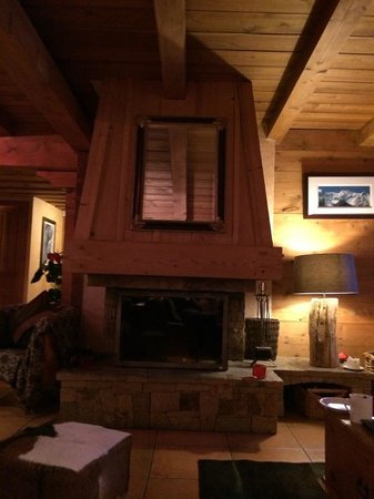 Chalet Les Jumelles: Fireplace in the lounge