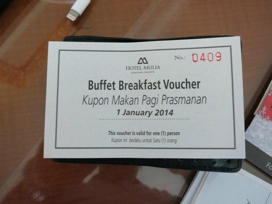 Breakfast Voucher- Dont forget it! - Picture of Hotel