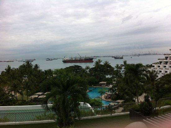 Shangri-La's Rasa Sentosa Resort & Spa: Sea view from my balcony - you can see ships sailing by