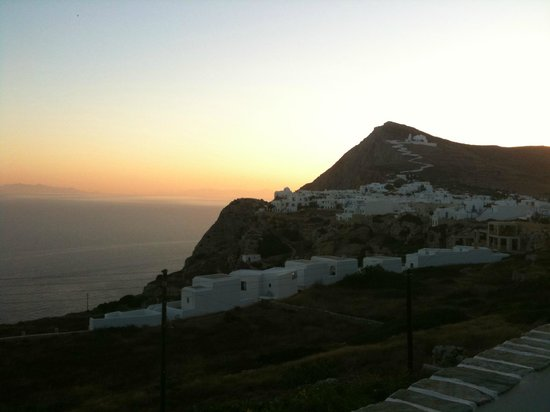 """Kifines Suites: Sunrise over the Chora """"Rock"""" from porch"""
