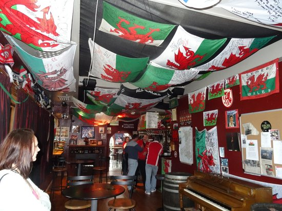 The view as you walk in to the Welsh Dragon Bar