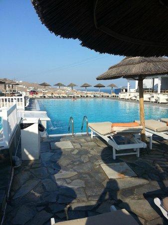 Myconian K Hotels : der Pool liegt zwischen zwei Häuserteilen