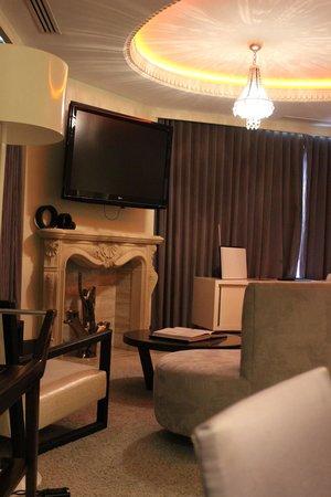W Washington DC: Living Room - Wow Suite