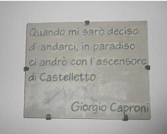 Spianata Castelletto : targa per Caproni
