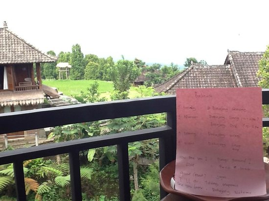Puri Lumbung Cottages: View from balcony with Balinese language