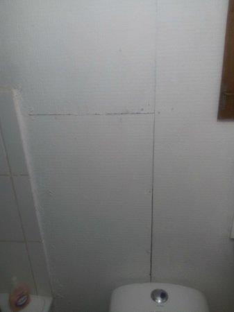 Hosteria Costanera: Baño sin paredes de azulejos
