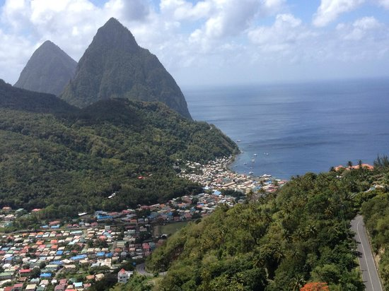 Crystals St Lucia: View Soufriere, coming down the mountain from the Crystals