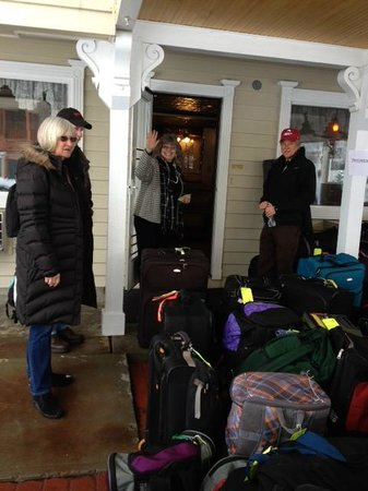 Jackie greeting her guests.  Our ski group fell in love with Jackie and The Parkway Inn.
