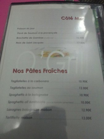 Restaurant Mc Grill: Menu