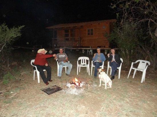 Hacienda de Taos: enjoying camp fire