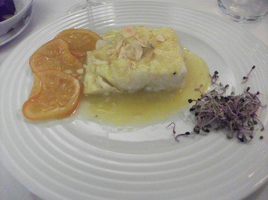 Restaurante la Alacena : BACALAO A LA MIEL DE NARANJA CON AJOS.