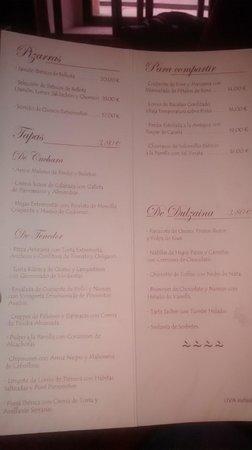 Restaurante Tapería Yuste: Carta del restaurante