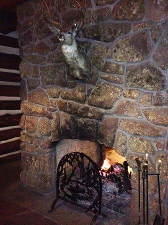 Alps Boulder Canyon Inn: Lobby fireplace - The Alps