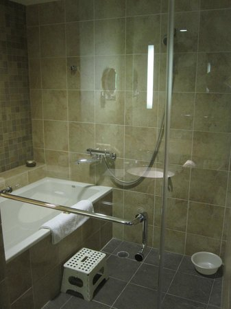 Miyako Hybrid Hotel: shower and tub