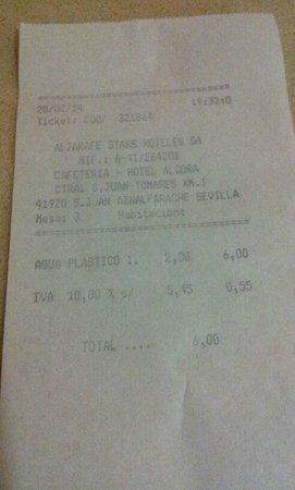 Hotel TRH Alcora: 2 botellas de AGUA 6 €