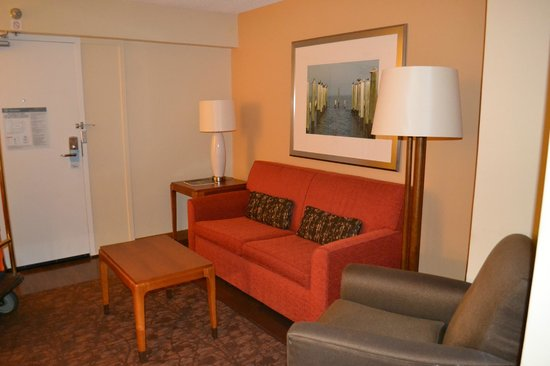 Four Points by Sheraton Suites Tampa Airport Westshore: The living room area with pull out sofa