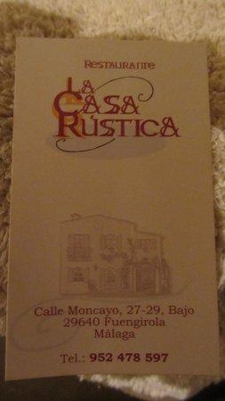 La Casa Rustica: card