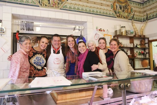 Tuscan Wine Tours by Grape Tours : The girls with Dario Cecchini in his butcher shop!