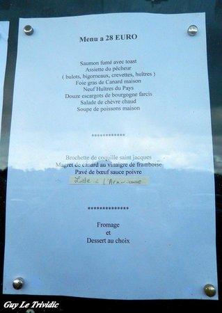 Gilles de Bretagne : L'un des menus