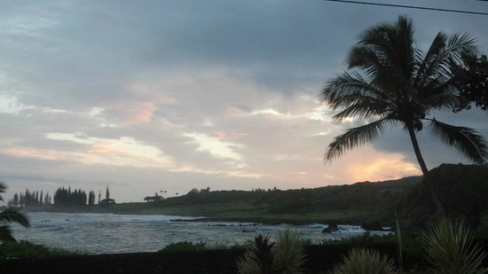 Hana Oceanfront Cottages: View from the porch at sunset