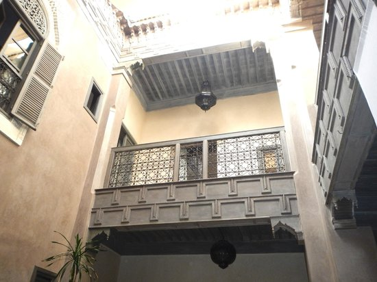 Riad Dar One: Looking up from the courtyard