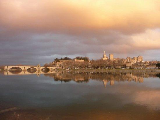 Ile de la Barthelasse: Le pont d'Avignon et le Palais des Papes vus de la Barthelasse