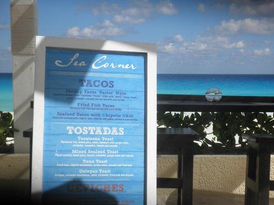 Sea Corner Menu Picture Of Live Aqua Beach Resort Cancun Tripadvisor