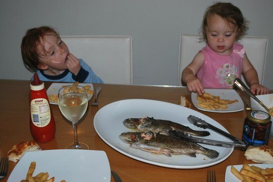 Rhyll Trout and Bush Tucker Farm: kids tucking in to their catch